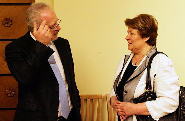 Sarunā ar domubiedru – Eiropas Savienības Tiesas tiesnesi Egilu Levitu 2011. gada Juristu dienās.Boriss Koļesņikovs